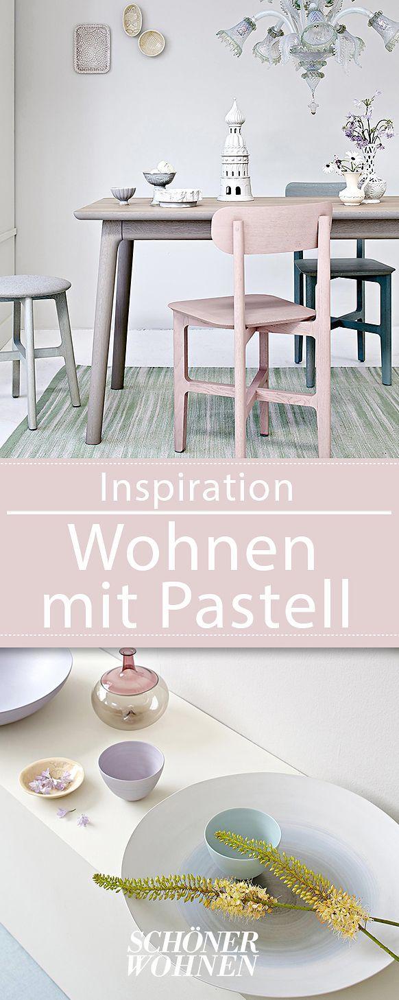 Schön Wohnen Mit Farbe Pastell Als Wandfarbe Mit Farbigen Möbeln. Zartes  Rosa, Gelb Und