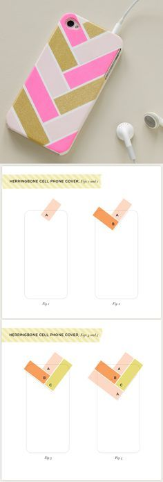 DIY Herringbone Cell Phone Cover with #Washi Tape #diy #iphonecover