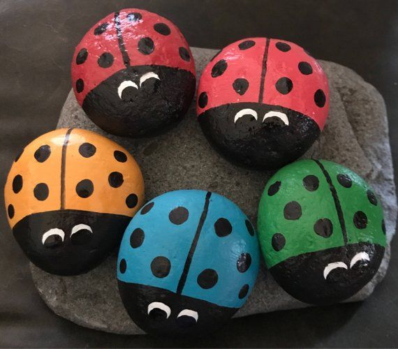 This Big Bright Colorful Ladybug Painted Rock Garden Stone Home