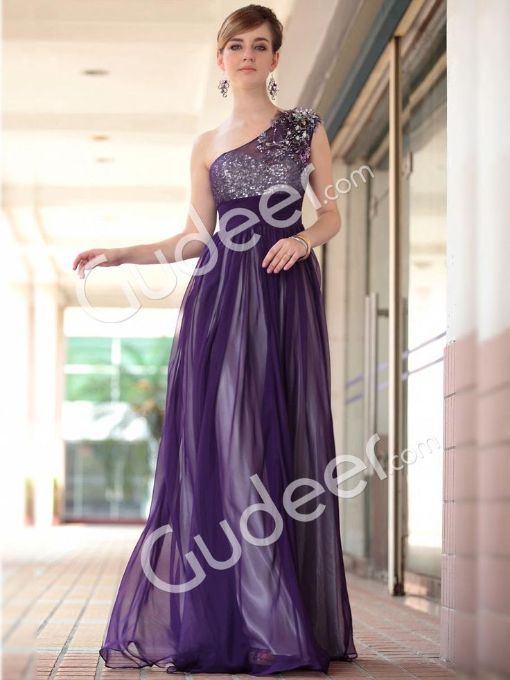 purple one shoulder a-line long formal dress with beaded sweetheart sheer bodice from gudeer.com
