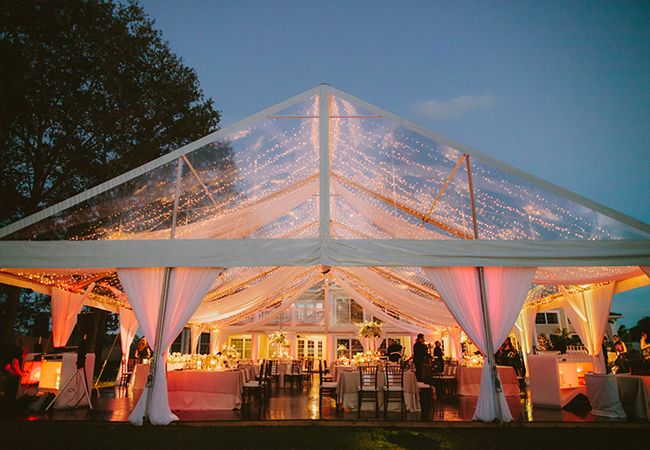 Outdoor Wedding Tent: Drape the ceiling and combine with tiny twinkle lights for a star-lit effect.