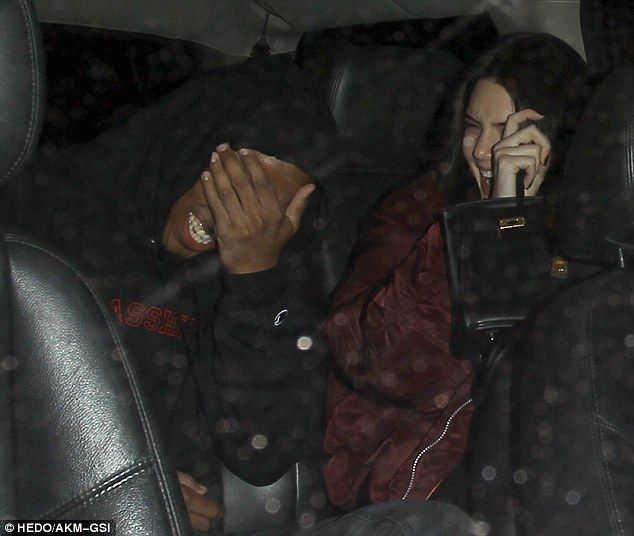 High spirits: Kendall Jenner was seen arriving at nightclub The Nice Guy with Lakers player Jordan Clarkson on Wednesday night