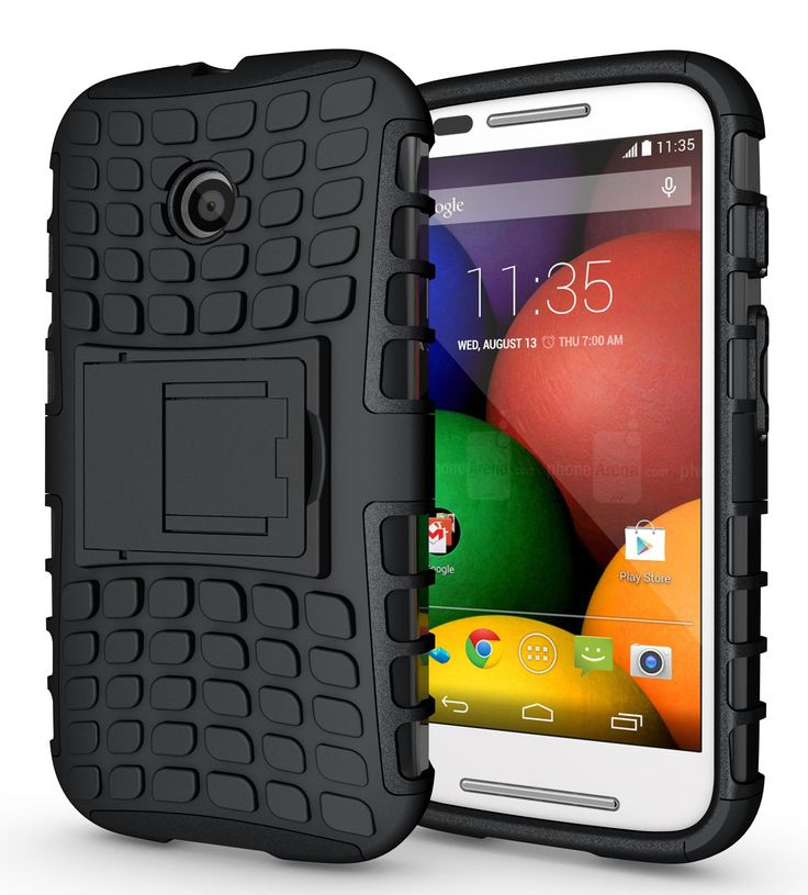 JKase DIABLO Series Tough Rugged Dual Layer Protection Case Cover with Build in Stand for Motorola Moto E SmartPhone - Retail Packaging (Black)