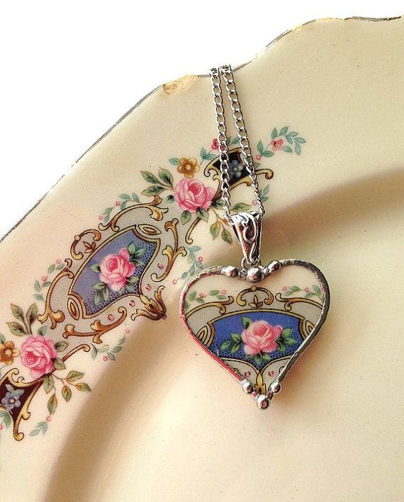 Broken china jewelry heart pendant necklace antique china pink rose on blue