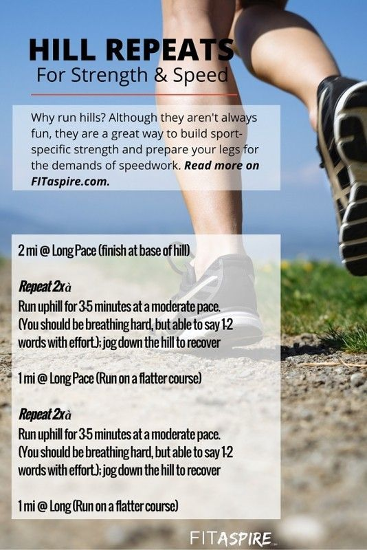 Do you run hills? Hill repeats are a great way to build functional strength, prepare for speed work, & get faster! Get the full running workout details in this post. (via @fitaspire)