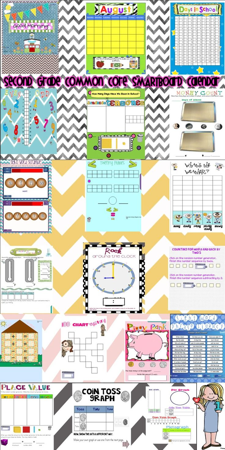 SMARTBoard Common Core Calendar for Second Grade - This 24 page SMARTBoard calendar is all you'll need to begin each day of second grade in August and September with a rigorous yet engaging start. It is aligned with CCSS ELA and Math.