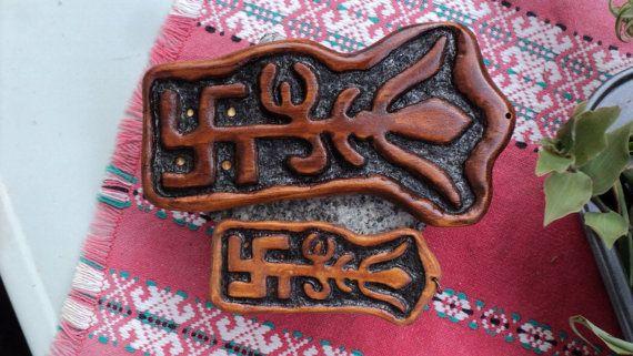 handmade wooden TRISHAKTI  Swastik  Om  Trishul amulet by TOFRAR