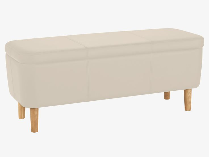 JACOBS WHITES Leather Cream leather storage bench - Habitat