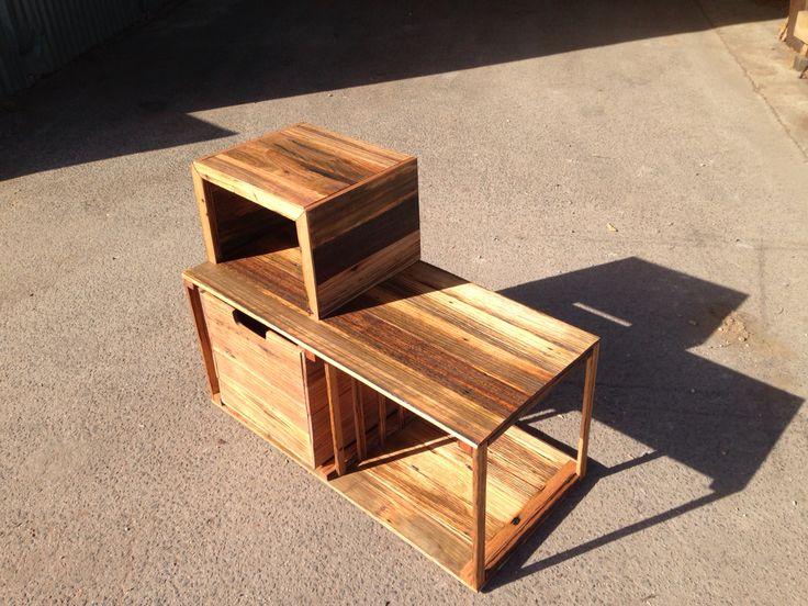 Side table recycled fence