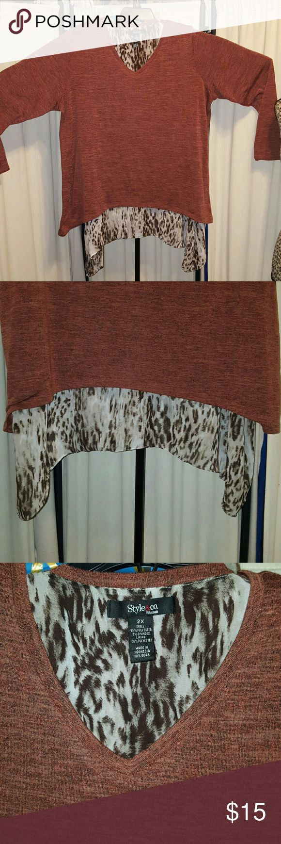 TerraCOTA sweater & Animal print Long sleeve  Beautifully combined  The corners are longer for a Slimming illusion  2X size Style & Co Tops