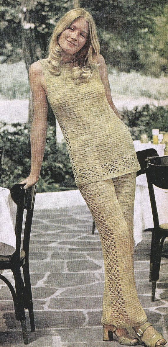 Instant PDF Download Old Vintage Retro Crochet Crocheting Instructions Pattern Lacy Dressy Pants Suit Pant Tunic Clothes