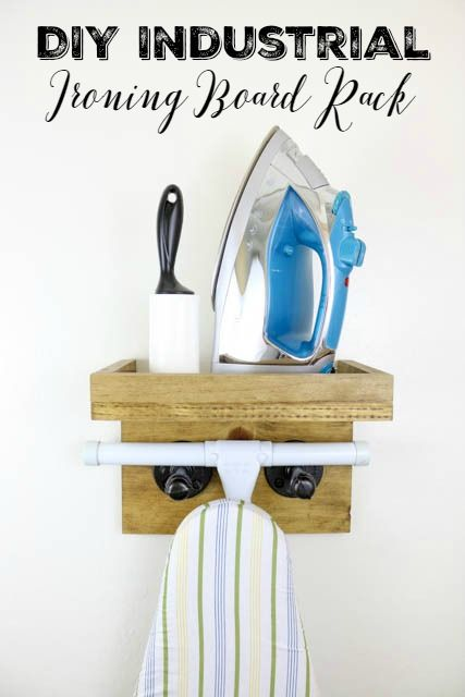 Scrap Wood Industrial Ironing Board Rack