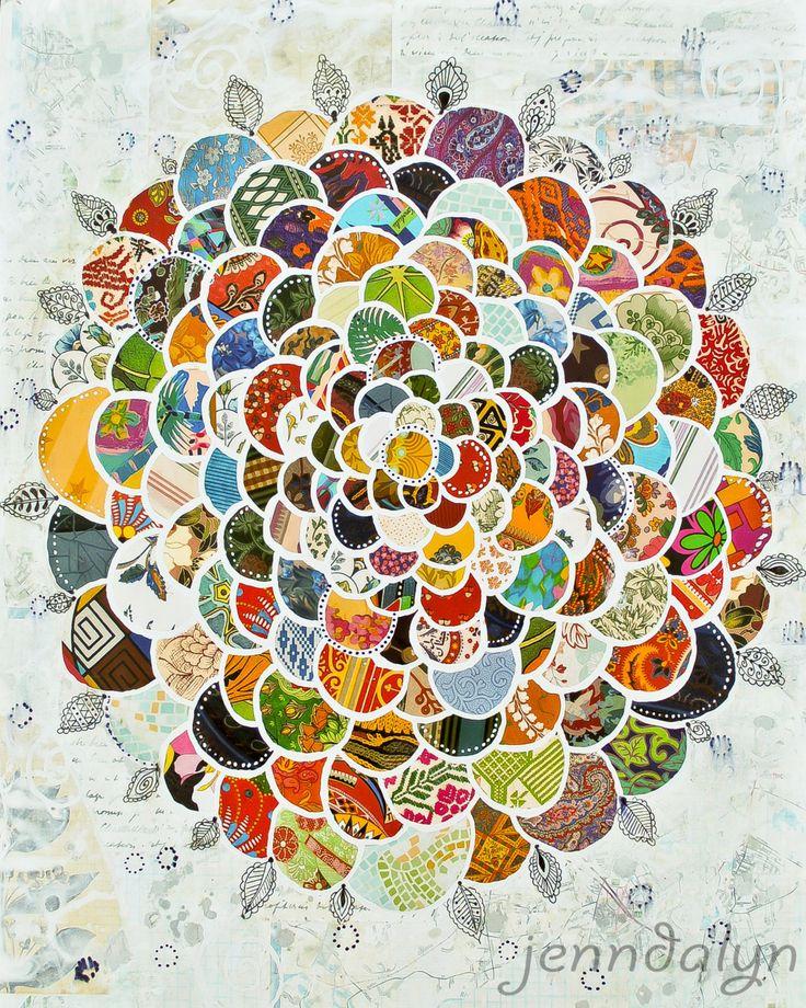 flower painting bohemian art print wallpaper collage 8 x 10 PRINT retro mixed media art. $18.00, via Etsy.