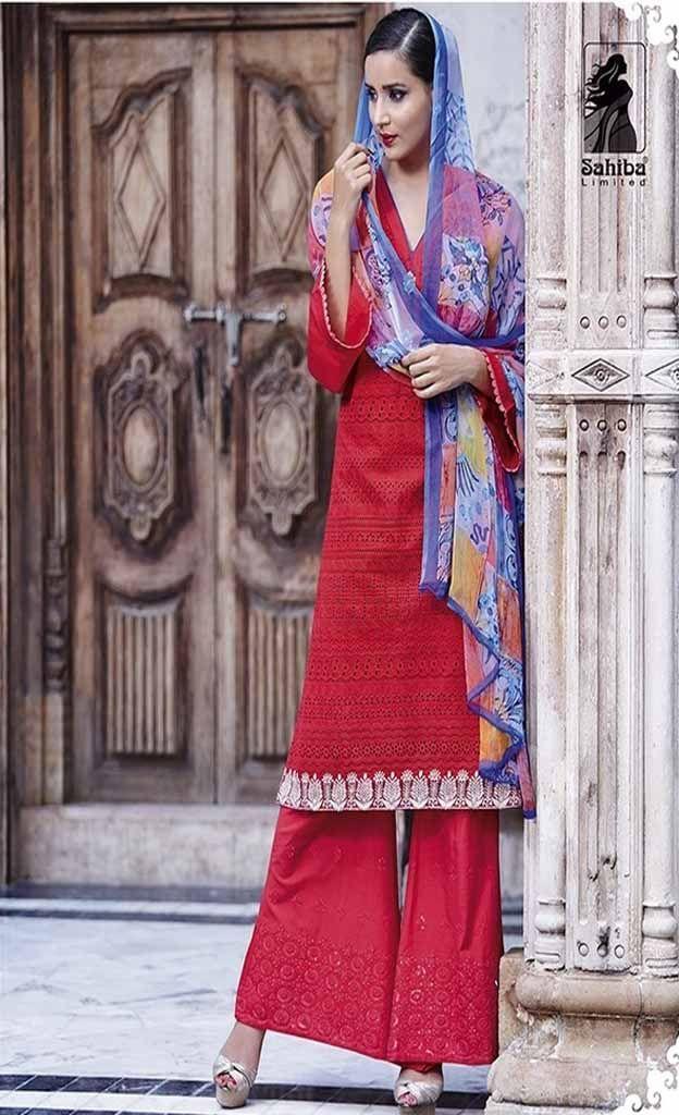 Sahiba Senora Pure Heavy Lawn Cotton Embroidered Dress Material