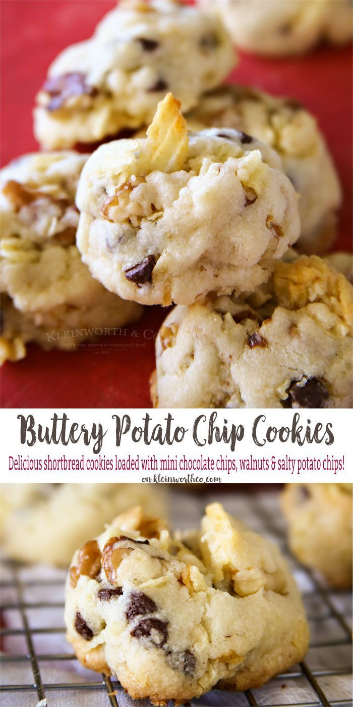 Loaded with mini chocolate chips, walnuts & salty potato chips-  these Buttery Walnut Potato Chip Cookies are the BEST COOKIES EVER! via @KleinworthCo