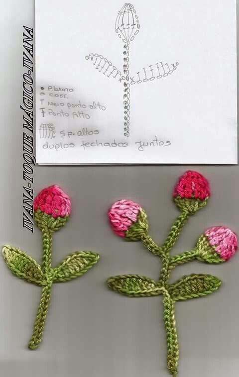 Flor em Crochê - ❤ / ❤ Flower Crochet -