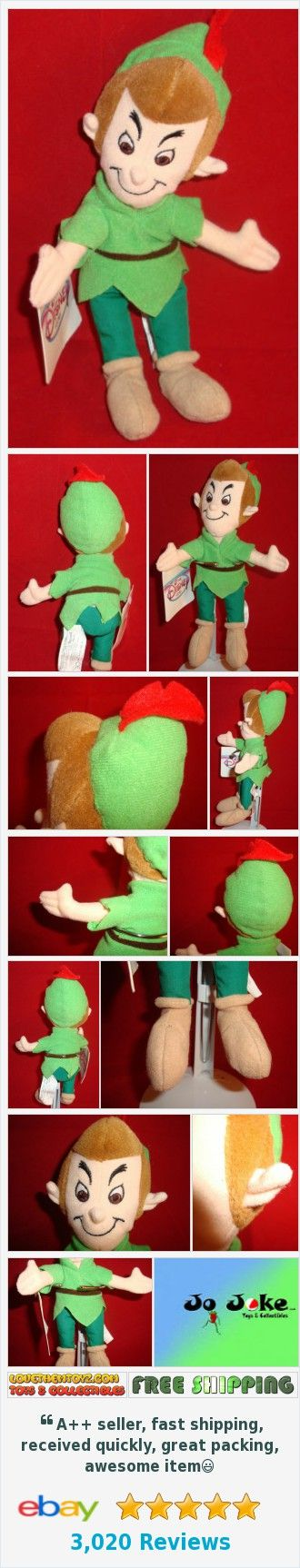 "DISNEY-PETER PAN-POINTED EARS-GREEN OUTFIT-BEAN PLUSH-8""--DISNEY STORE-NEW/TAGS 