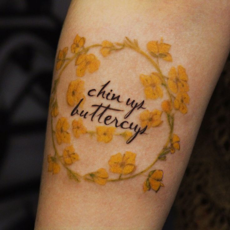 Chin up buttercup, everything's going to be just fine.  #chinupbuttercup #buttercup #floraltattoo #floral #flowers #flowertattoo #femininetattoo #scripttattoo #tattoostudio #seattletattoos #Seattletattoo #seattletattooartist #seattletattooshops #seattletattoostudio #tattoo #dzul #dzulink #dzultattoo #dzulinklounge #belltown #downtownseattle #emeraldcity #seattle