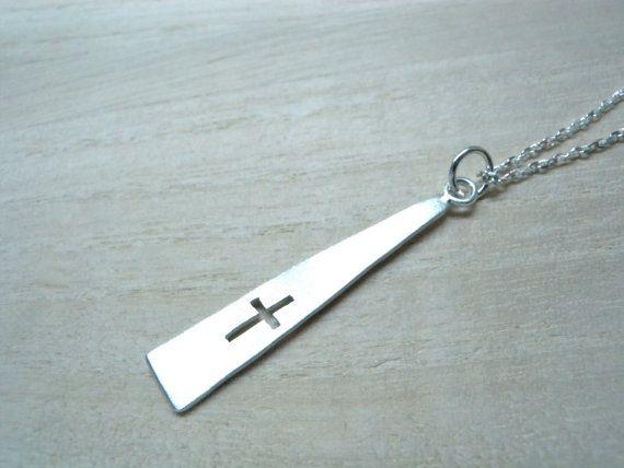Delgado Cruz largo plata Cruz colgante-geométricas triángulo collar - joyería cristiana contemporánea diseño cruzado especial