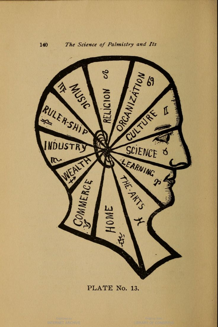 Another phrenological diagram, in The Science of Palmistry and its Relations to Astrology and Phrenology, by Irene Smith.