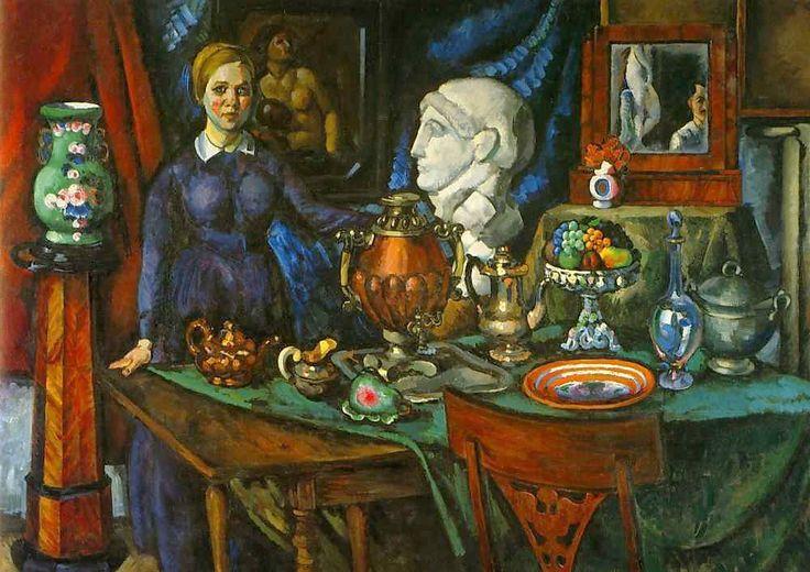 Still Life with Female Figure by Ilya Mashkov