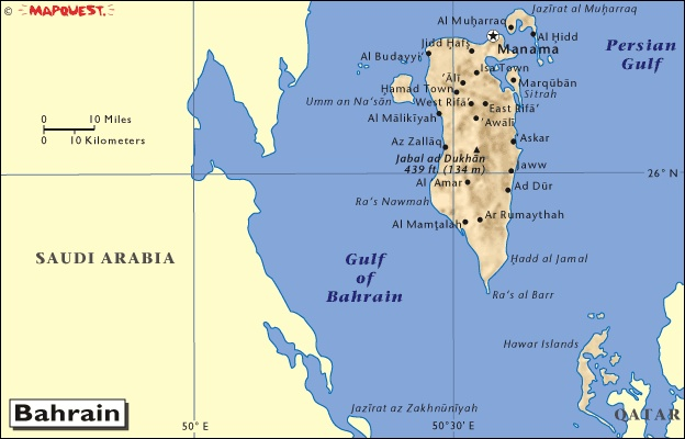 Map of Bahrain Cannot find a suitable image.   Spent R & R there while in Army during Desert Storm.  I loved the town.  I went horseback riding on the beach while visiting a country club.  Also went to a neat resort that had a swim up bar.  Beautiful