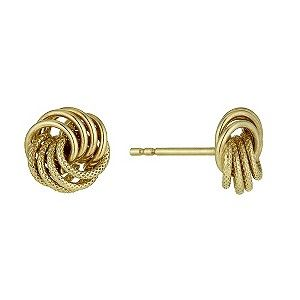 An understated, elegant addition for your jewellery collection. Swathes of 9ct yellow gold twist together to create these stunning knot stud earrings. A distinctive textured finish adds a touch of intrigue to these lovely earrings.