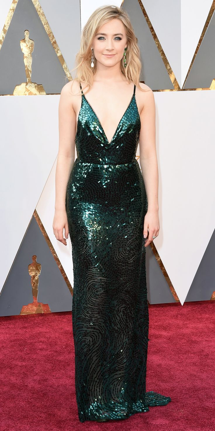 2016 Oscars Red Carpet Photos - Saoirse Ronan. Stunning green sequin dress from the Calvin Klein collection.
