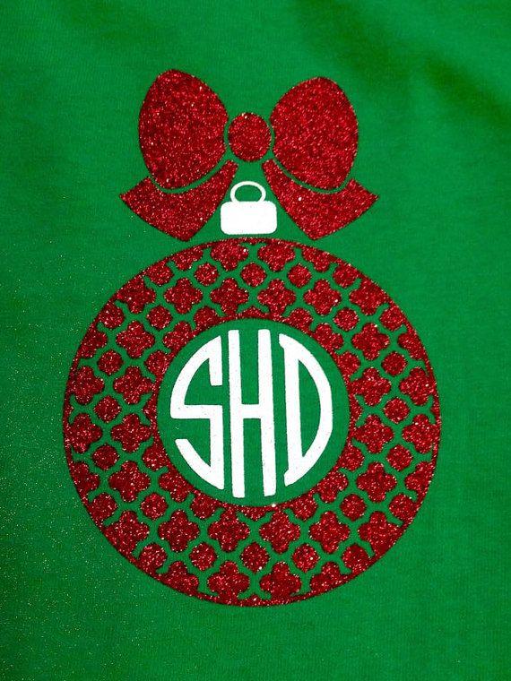 Monogram Christmas ornament shirt by MissSophiesBoutique on Etsy
