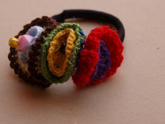 Crochet Hair Rubber Band : Ganchillo, Rubber bands and Crochet on Pinterest