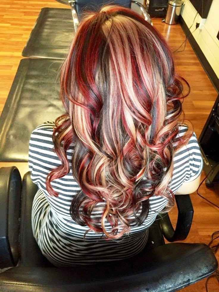 Dark Brown Hair With Chunky Red And Blonde Highlights ... thinking about doing this to my hair what you all think 03/22/2016 ????