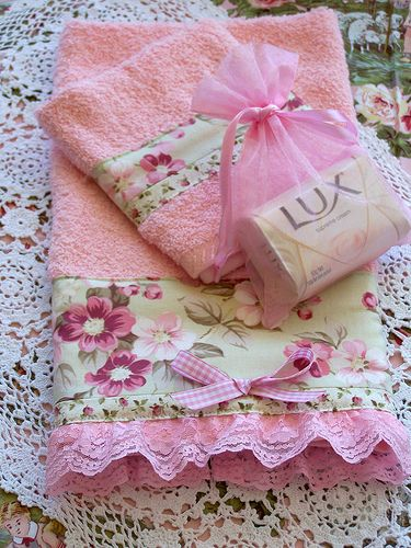 Decorative hand towel, wash cloth and soap gift set - with pink and white gingham bow, floral fabric band and pink lace added to edge of towel - createdbycath