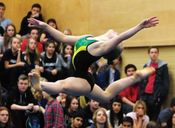 Sutherland's Tea Ham wows the crowd at the provincial high school gymnastics championships held last weekend at Sutherland. Windsor and Argyle finished first and second overall in the team competition. [North Shore News]