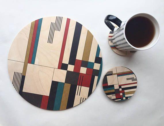 BAUHAUS geometric wood trivet/modern trivet /large drinks