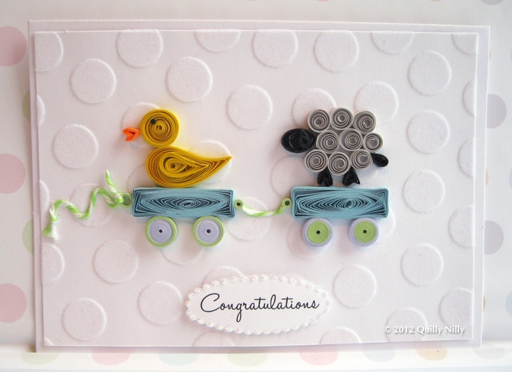 Paper Quilled Card, Little Ducky and Sheep, Twins. ---via Etsy.
