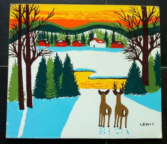 """Vintage Maud Lewis Rare """"Deer in Winter"""" Print"""