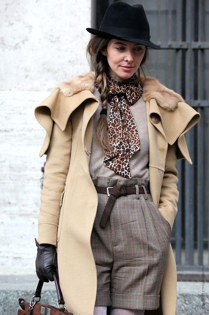 Tweed shorts + camel coat