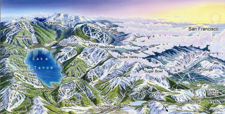 Lake Tahoe Ski Resort map - Lake Tahoe CA • mappery