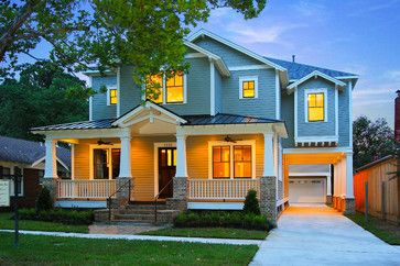 Craftsman traditional exterior and craftsman style for Craftsman home builders houston