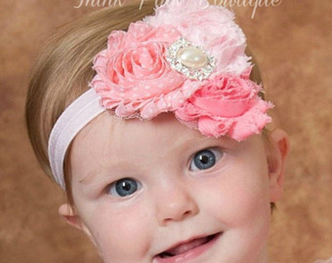 Rosa bebé venda, venda, venda de la muchacha del bebé, recién nacido venda, venda de shabby chic flores, diademas de bebé, pelo, Arcos bebé de pelo.