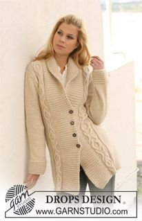"""Knitted long DROPS jacket with cables and shawl collar in """"Nepal"""". Size S - XXXL. ~ DROPS Design free pattern"""