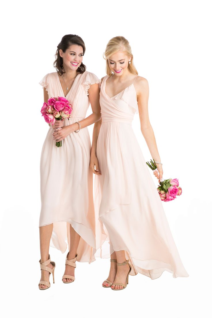 129 best images about vow to be chic on pinterest to be little a long chiffon blush colored bridesmaid dress with flowing skirts and sleeves affordable designer bridesmaid dresses to buy or rent at vow to be chic ombrellifo Choice Image