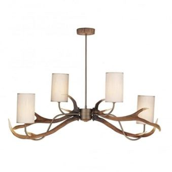 Antler Four Light Pendant with Cream Fabric Shades