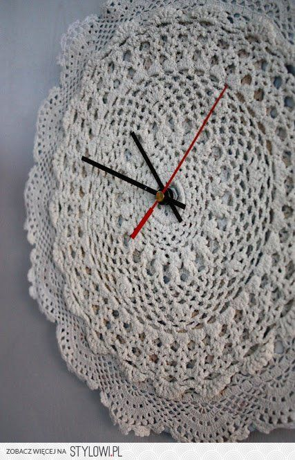 Crochet / clock with crochet doilies, by Brigg na Stylowi.pl
