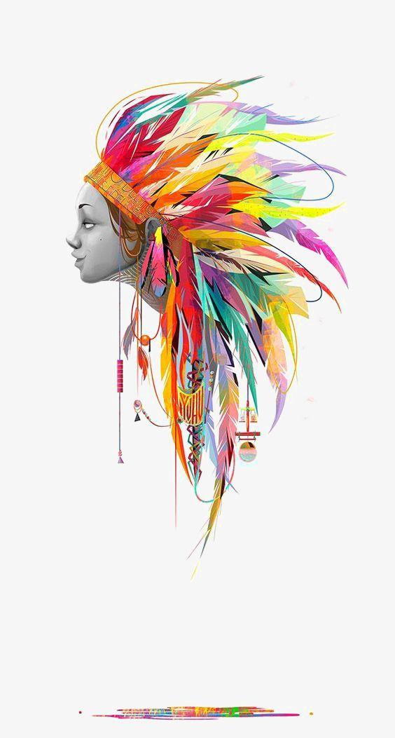 OS índios, Penas De Cor, O Estilo étnico Imagem PNG
