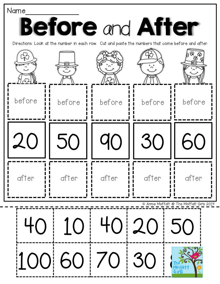 Before and After- Skip counting by tens. TONS of activities to build fluency with math and literacy in the March NO PREP Packets for Kindergarten!