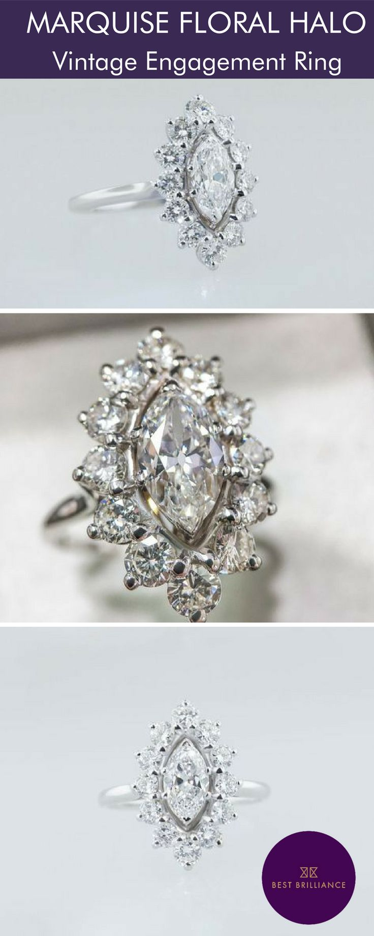 Descriptiona carat f marquise center diamond is mounted along with carat side diamonds in a white gold halo style setting on a delicate shank total carat