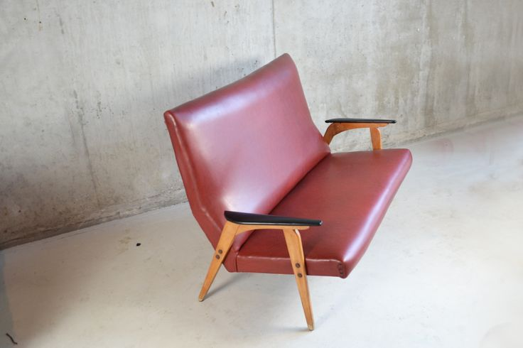 French Mid Century Teak and Maroon High Backed Vinyl 2 Seater Sofa 1970s