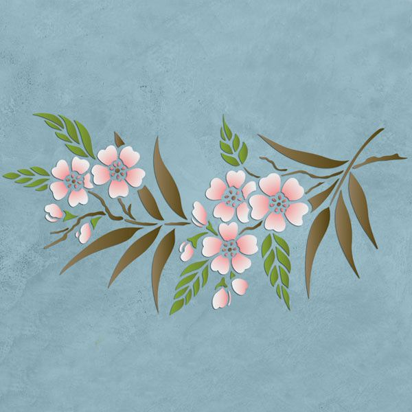 Border stencils cherry blossom border stencil royal for Cherry blossom wall mural stencil
