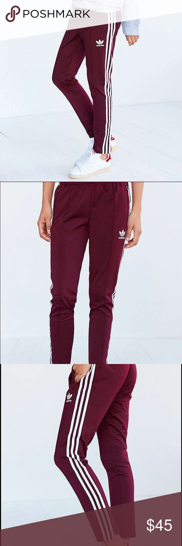 Adidas originals track pant Size S MSRP $60 adidas Original's slim-fit modern track pant in a fresh hue we love. In silky tricot fabric with a mid-rise construction that tapers in at the cropped zip ankle, topped with an adjustable stretch-banded waist with hidden drawstring closure tucked inside. Complete with side zip pockets and center seams for an elevated touch.  Content + Care - Polyester - Machine wash Adidas Pants Track Pants & Joggers